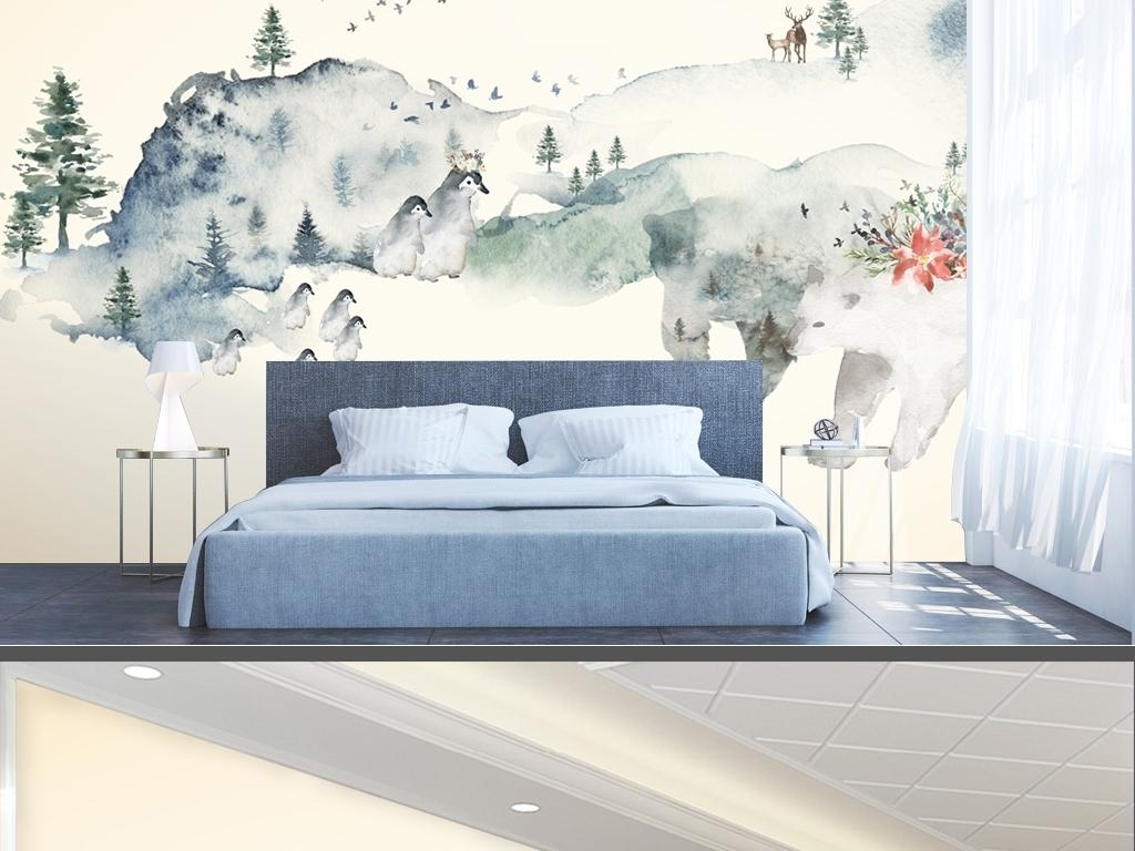 背景墙 电视背景墙 现代简约电视背景墙 > 简约北欧风格手绘抽象水彩
