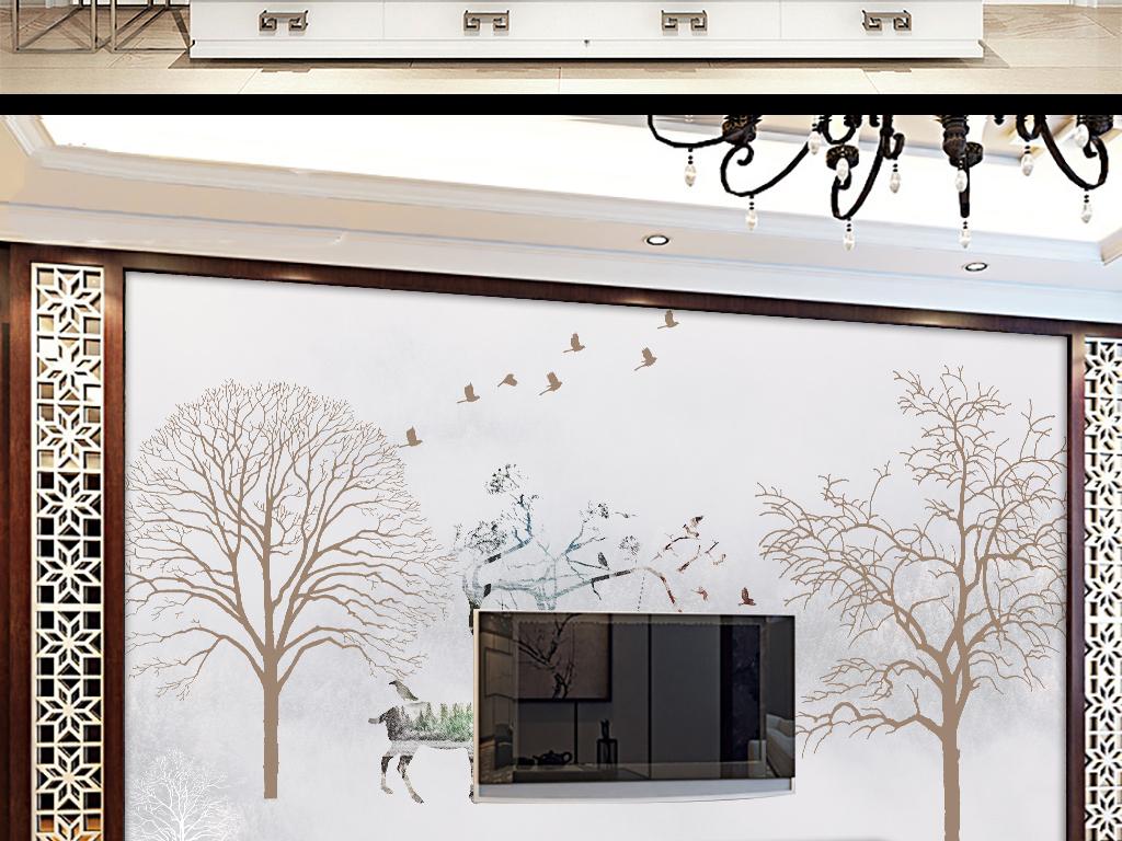 新款北欧风格高档电视背景墙图片