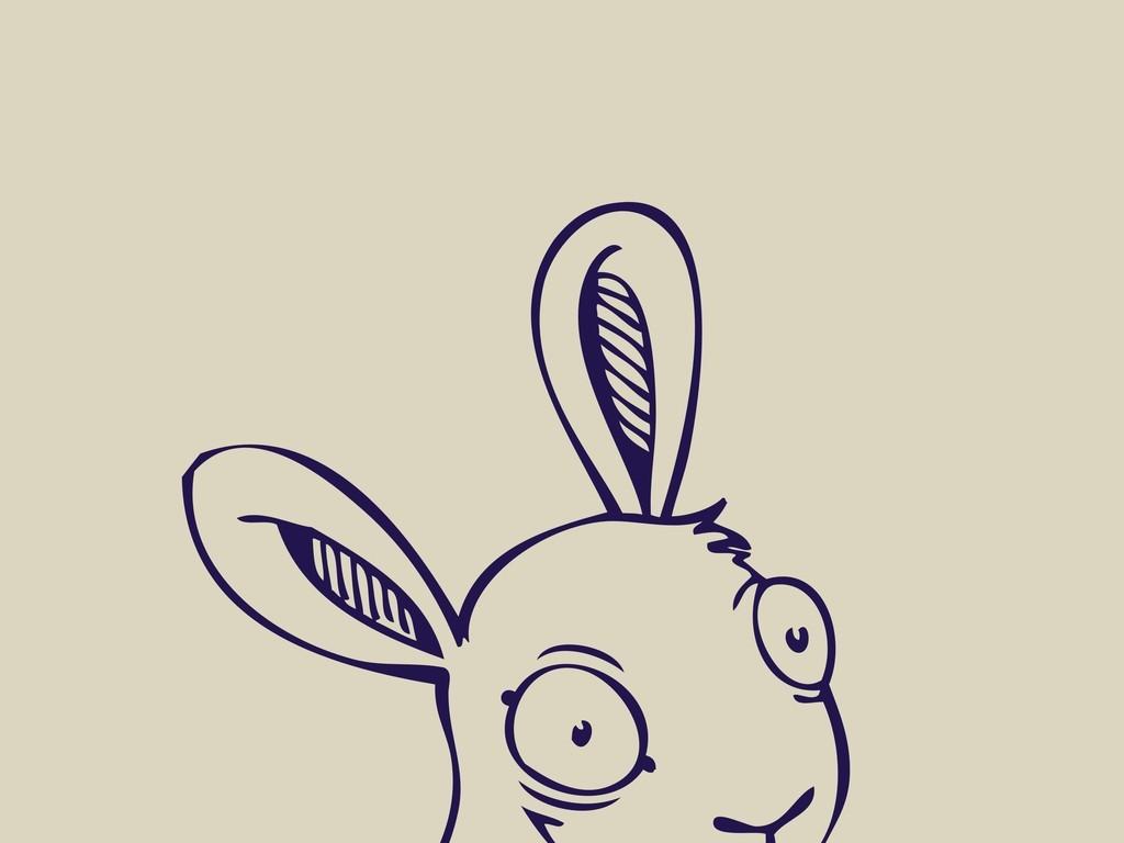 卡通动物兔子简笔画