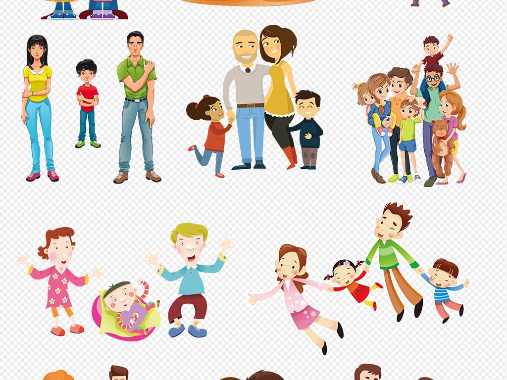 可爱卡通亲子人物形象海报免扣透明背景素材