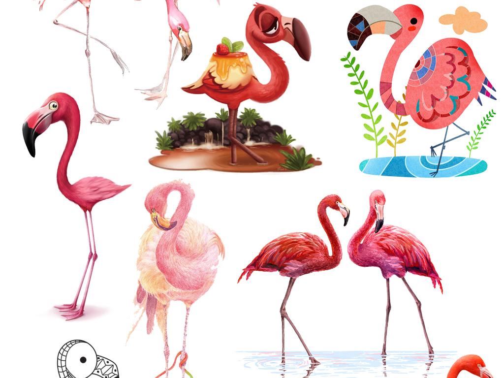 免抠高清手绘卡通写实水彩火烈鸟图案素材