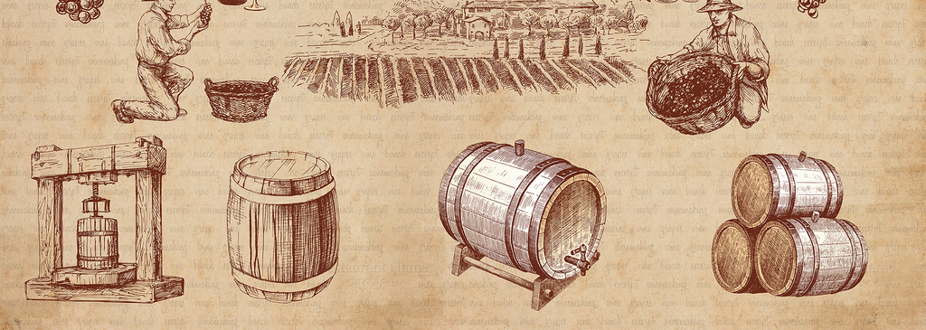 复古欧美手绘葡萄酒红酒酒庄背景墙