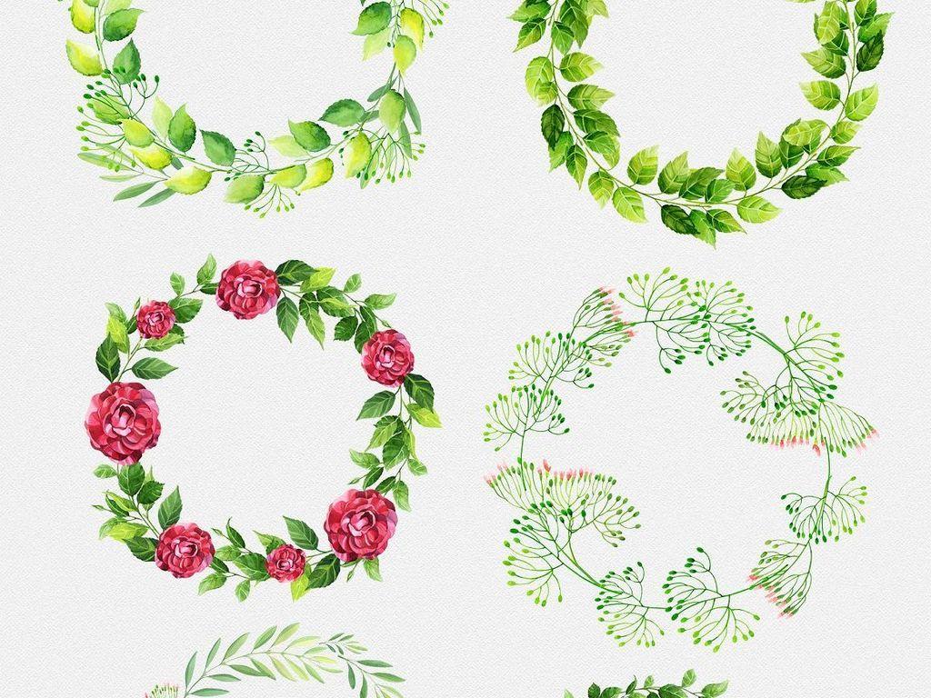 水彩手绘花朵花环边框植物图案png素材