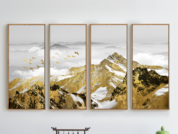 新中式飞鸟金色雪山抽象现代北欧客厅装饰画