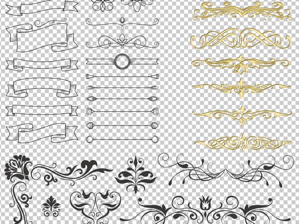 欧式花纹边框png免扣透明素材图片