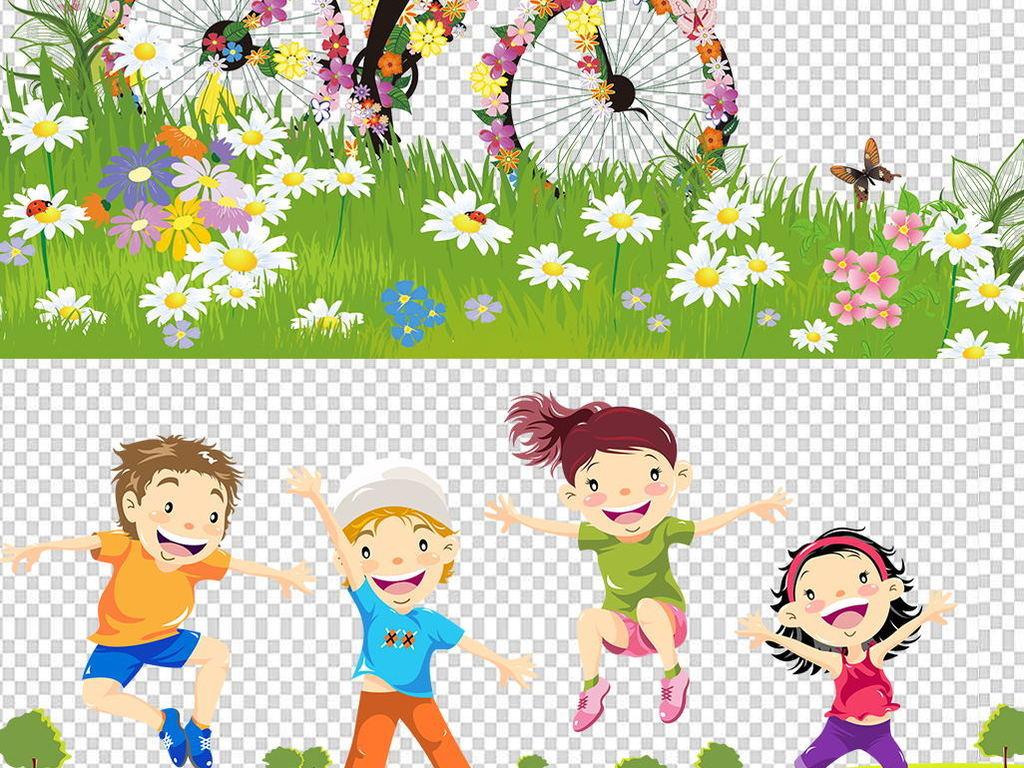 绿色卡通草地草坪花草边框幼儿家庭活动素材图片