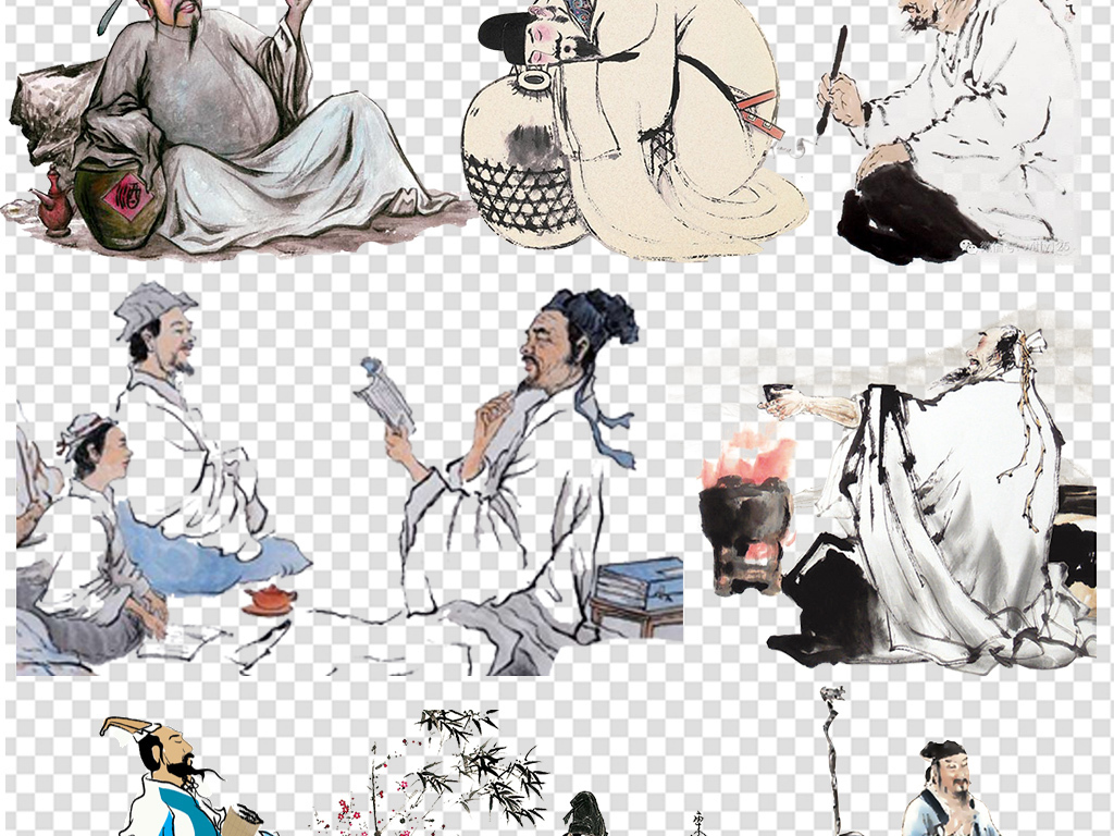 中国古代诗人作词人物中国风海报png素材