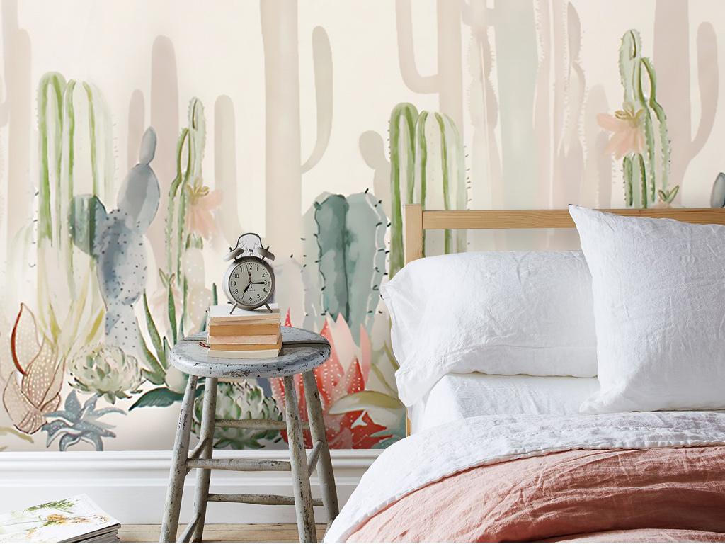 北欧简约清新手绘仙人掌仙人柱背景墙壁画