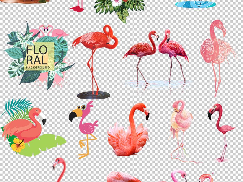 手绘火烈鸟背景墙壁纸壁画装饰画png素材