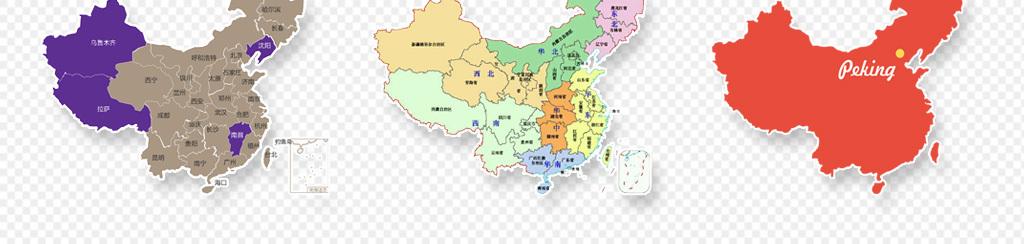 手绘中国地图创意图免抠png透明素材