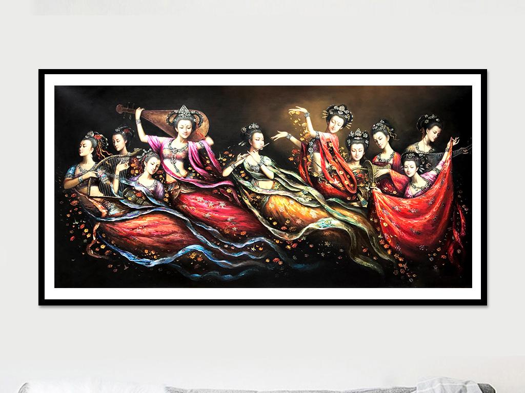 敦煌飞天手绘古装美女人物油画无框画装饰画