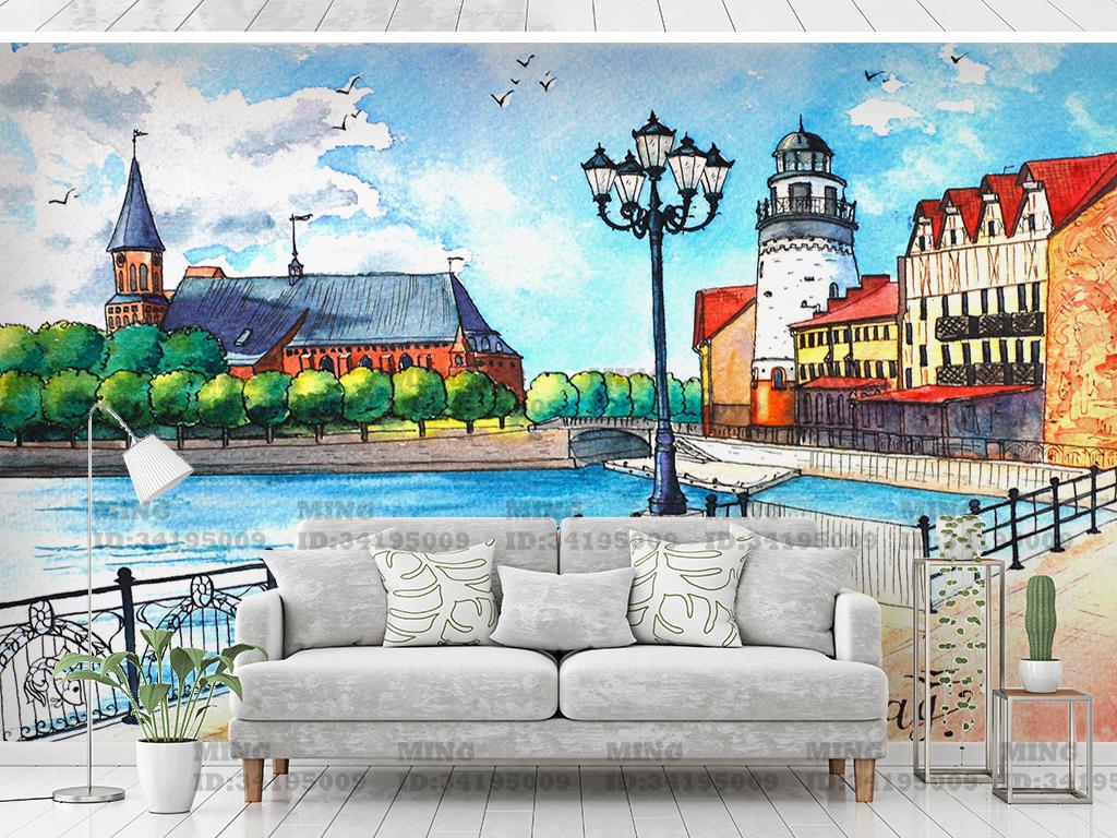 手绘欧洲城市街道背景墙