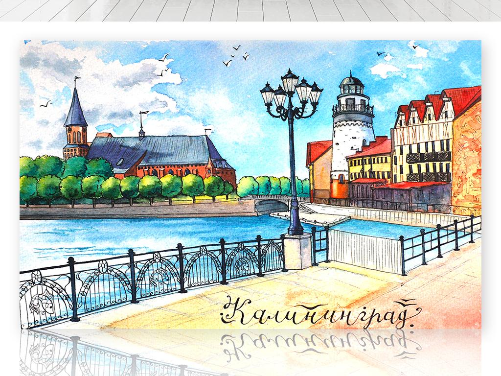 手绘欧洲城市街道背景墙 17365540 油画 立体油画电视背景墙图片