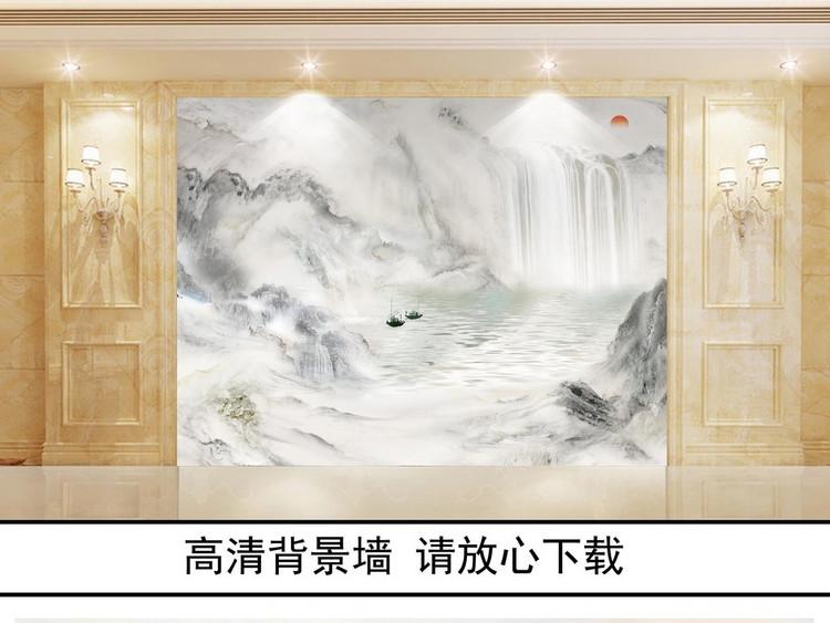 大理石纹中式水墨山水画江山如画石材背景墙