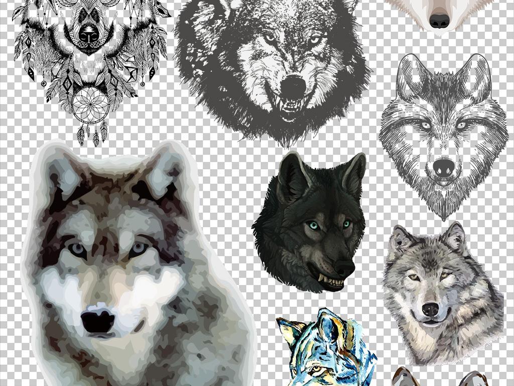 50款卡通手绘狼人动物狼头图片海报素材