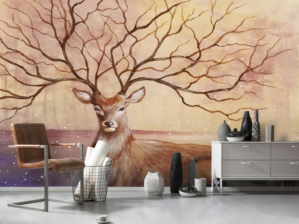 现代手绘麋鹿北欧风格壁画电视背景墙