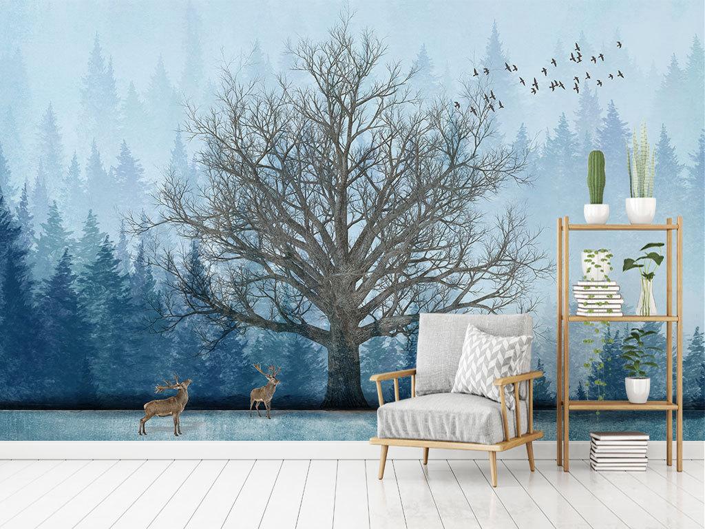 北欧抽象手绘森林大树麋鹿电视背景墙
