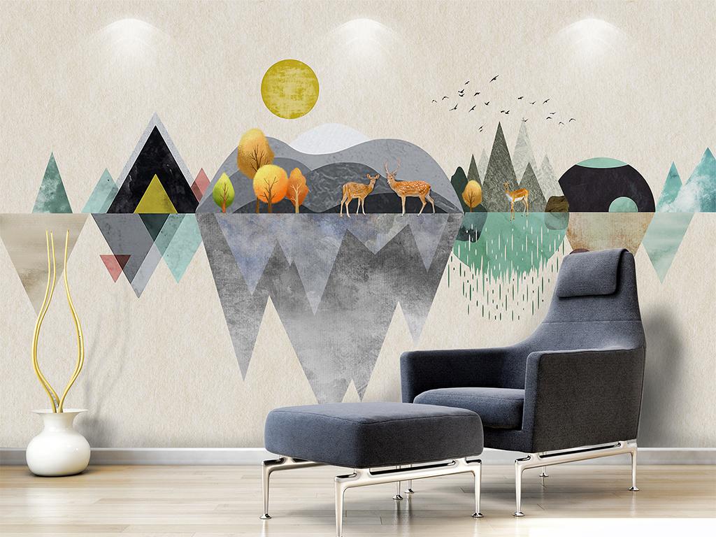 北欧麋鹿现代简约个性几何森林鹿壁画背景墙图片