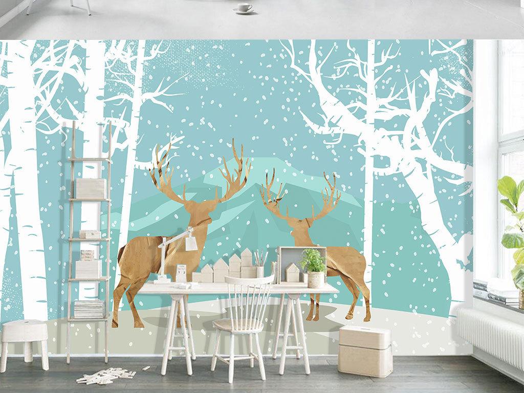 手绘北欧风麋鹿装饰画背景墙