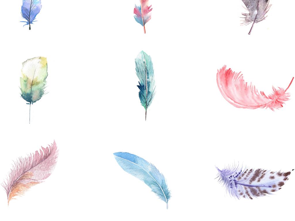 唯美水彩手绘羽毛素材清新简约元素合