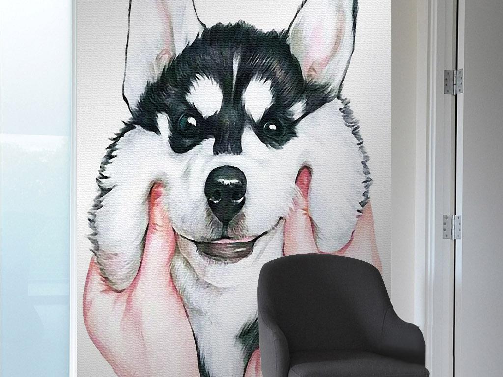 捏哈士奇的脸可爱狗北欧现代手绘欧式装饰画