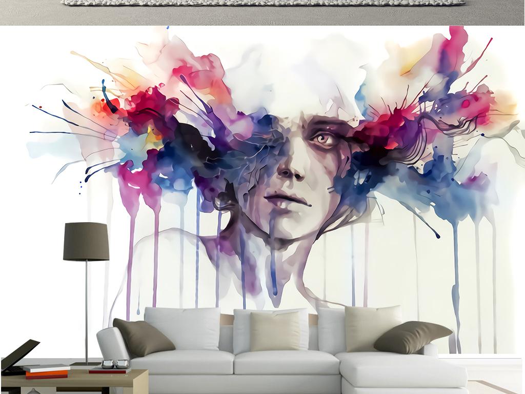 现代炫酷艺术手绘水彩画抽象美女创意背景墙