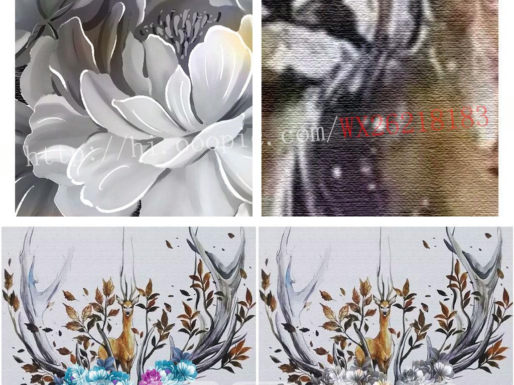 手绘花朵玉树临风梦幻麋鹿玄关背景墙壁画