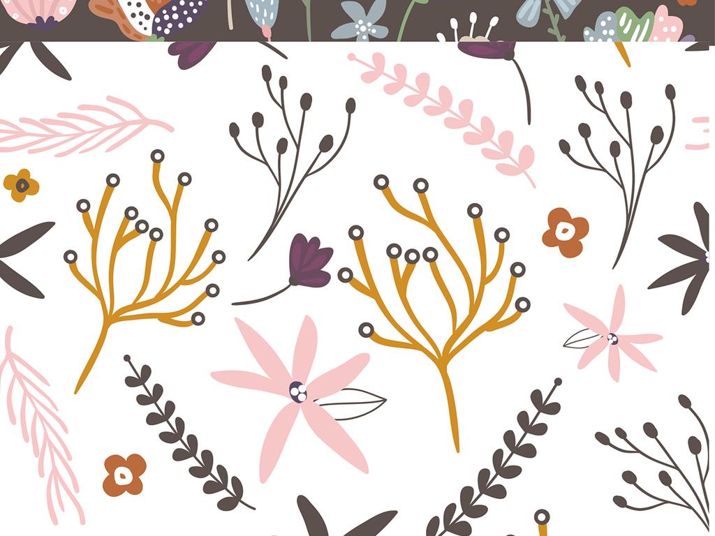 免抠元素 花纹边框 欧式边框 > 2018森系小清新手绘图案背景矢量素材