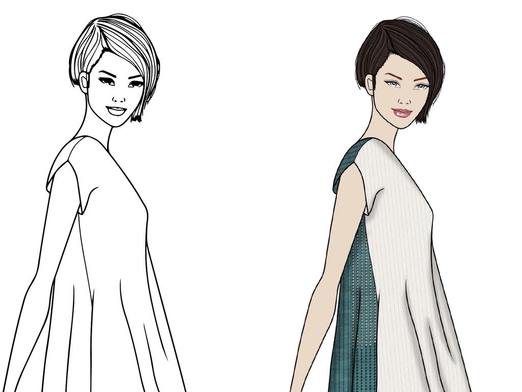 欧美女装高清时装画效果图素材