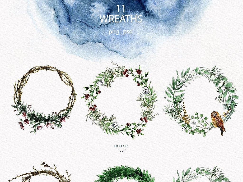 手绘水彩植物叶子兔子浣熊动物水墨海报请柬设计素材