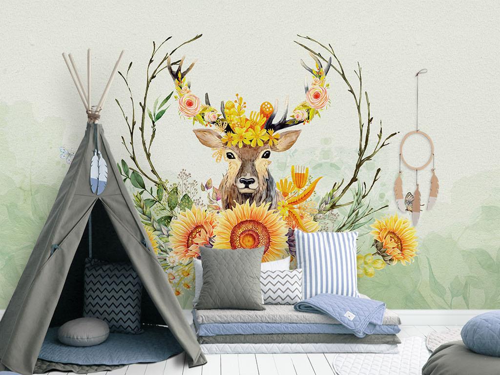 北欧手绘麋鹿油画向日葵沙发电视背景墙
