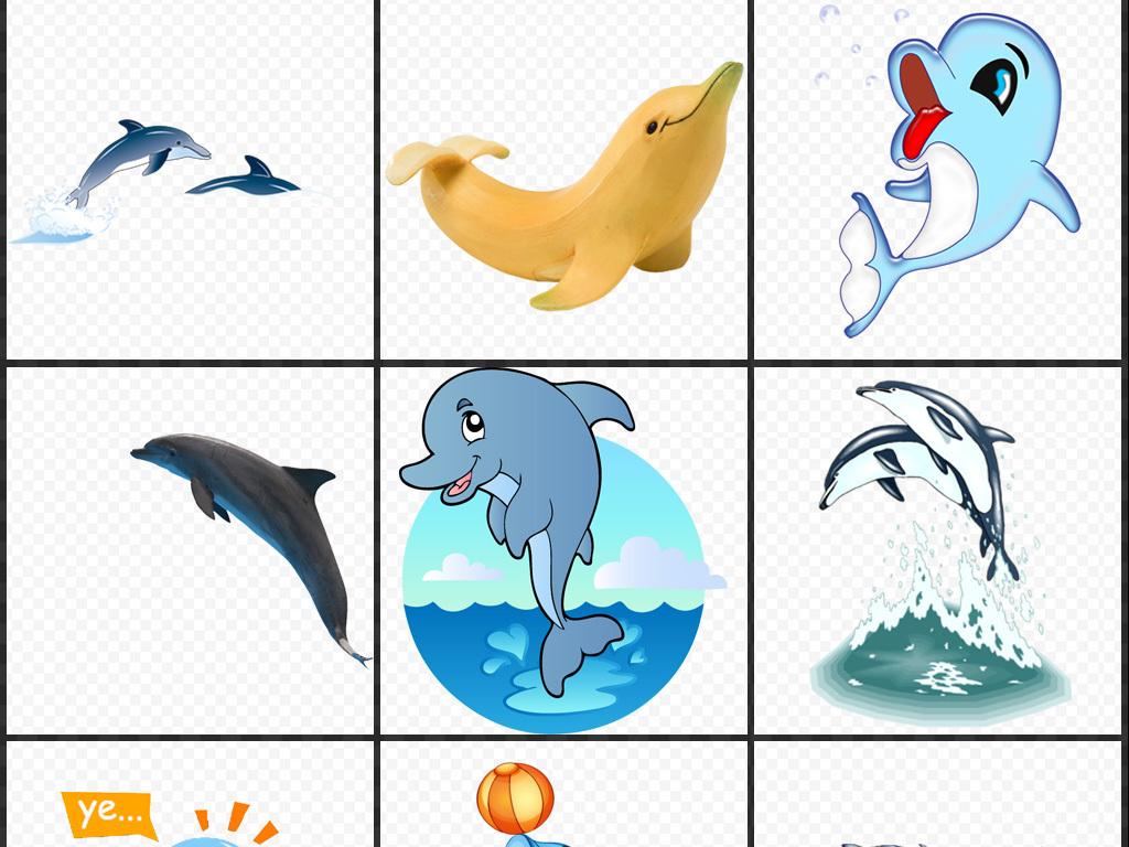 卡通手绘海豚png免扣透明素材