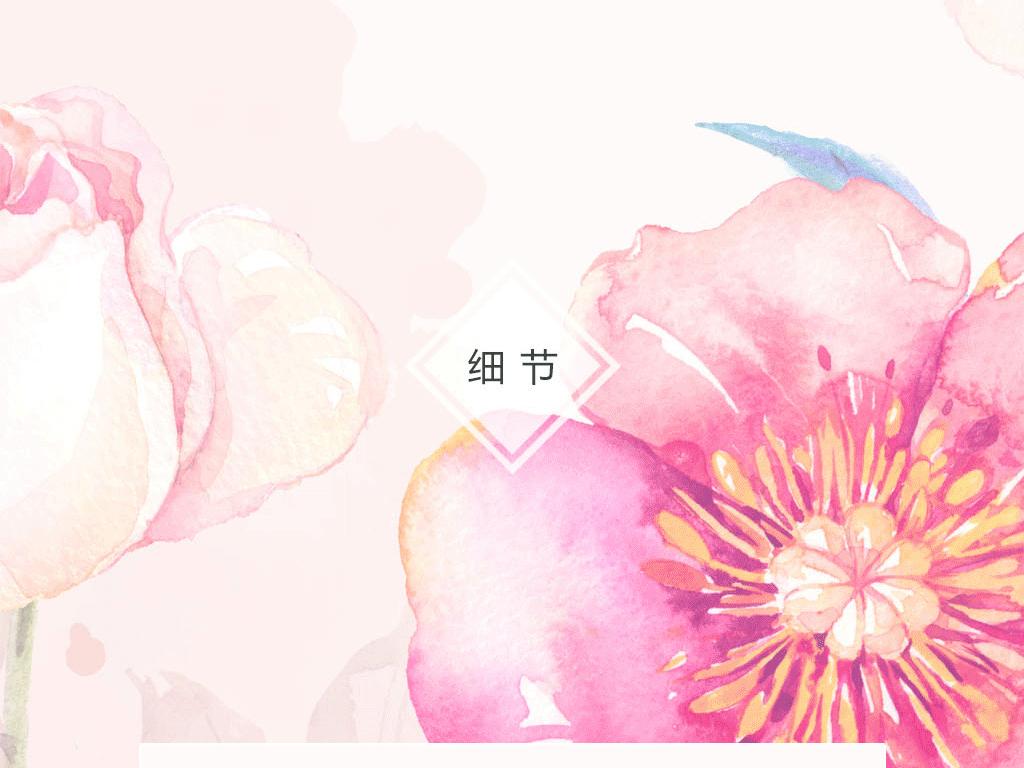 北欧手绘玫瑰花丛沙发电视背景墙