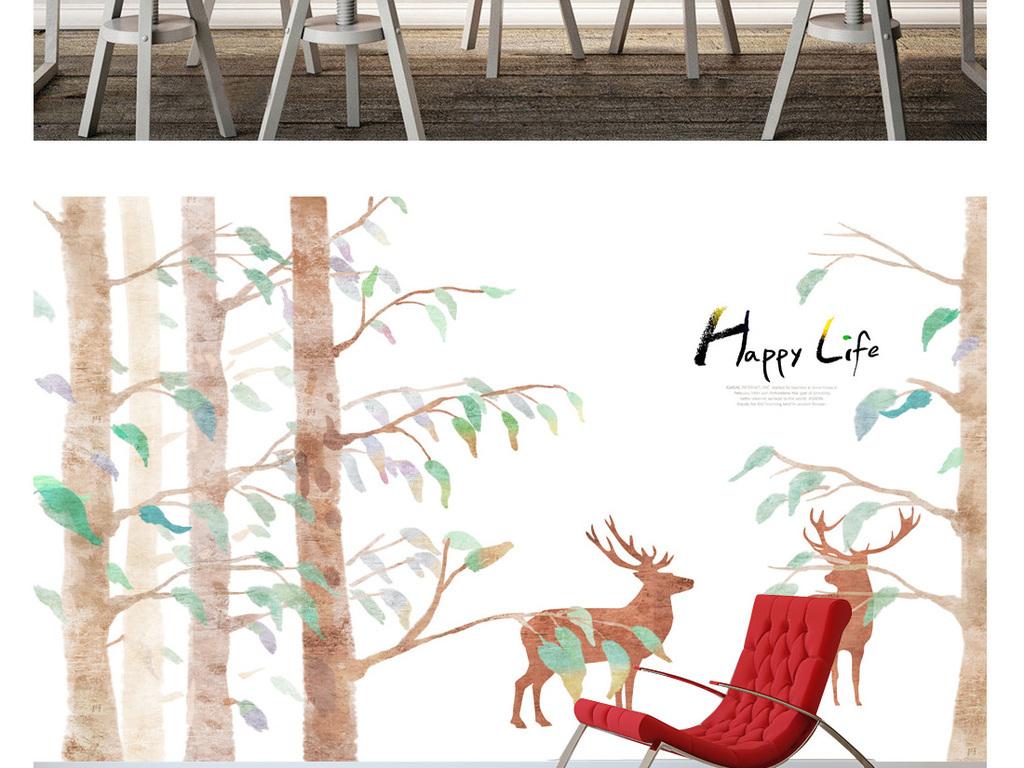 现代手绘意境唯美森林麋鹿装饰画背景墙