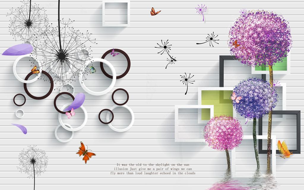 3d方框圆圈蒲公英立体电视背景墙壁画图片设计素材_(.