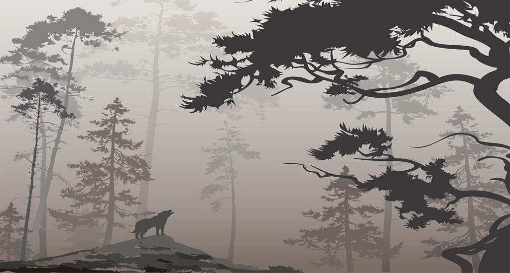 北欧风格树林剪影背景墙装饰画墙纸图片