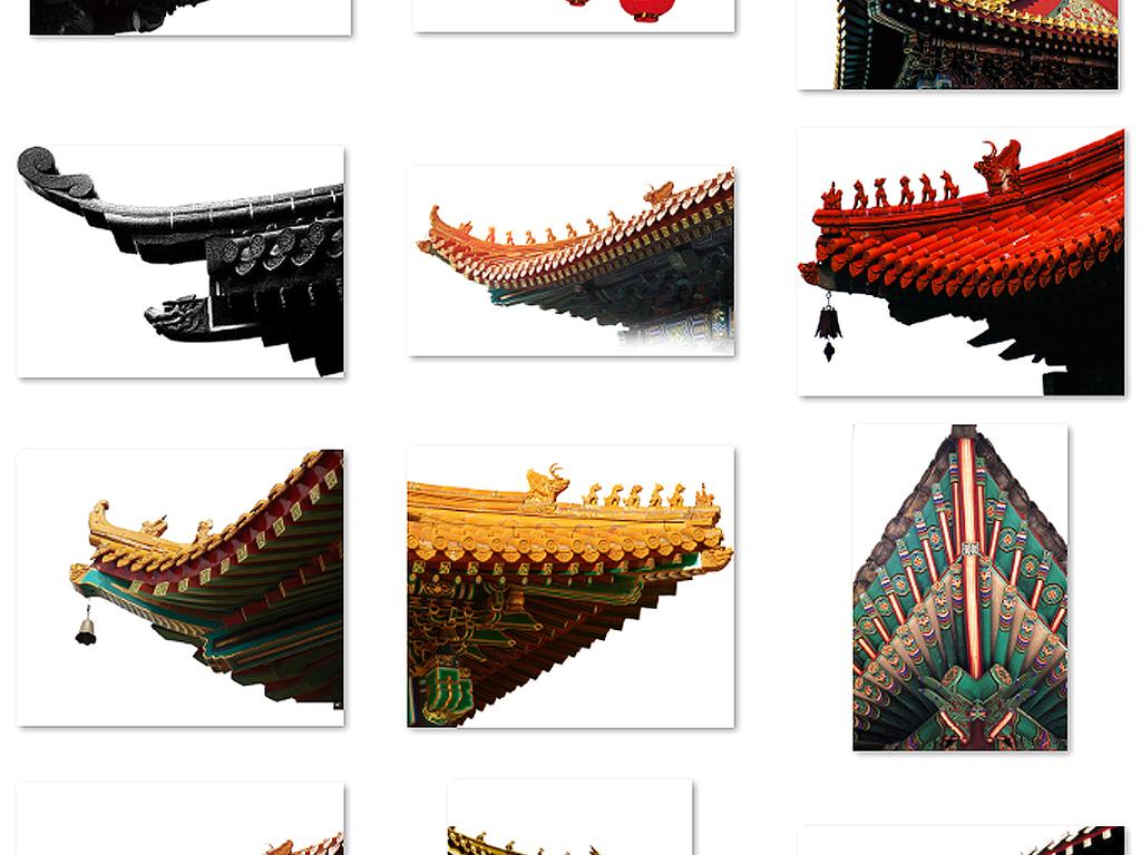 中国风古典屋檐建筑屋顶围墙古代瓦房素材