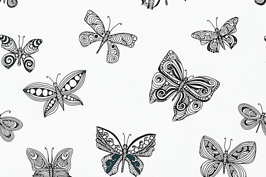 手绘工笔画黑白蝴蝶图案背景
