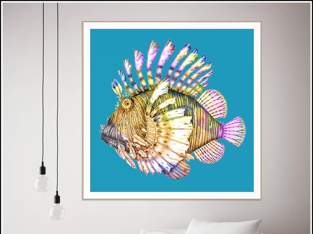 创意北欧简约鱼插画装饰画手绘无框画