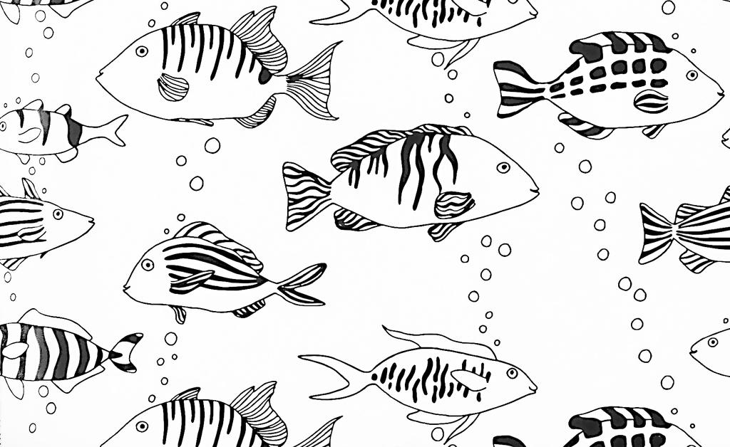 手绘工笔画鱼背景图案