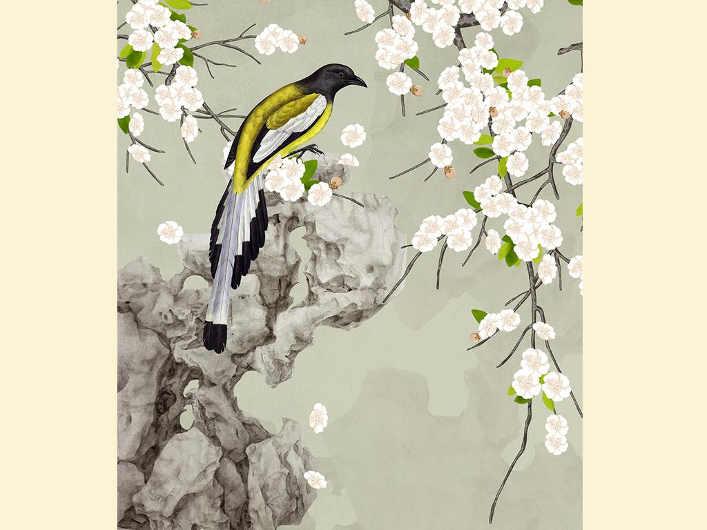 手绘梨花工笔花鸟新中式玄关背景