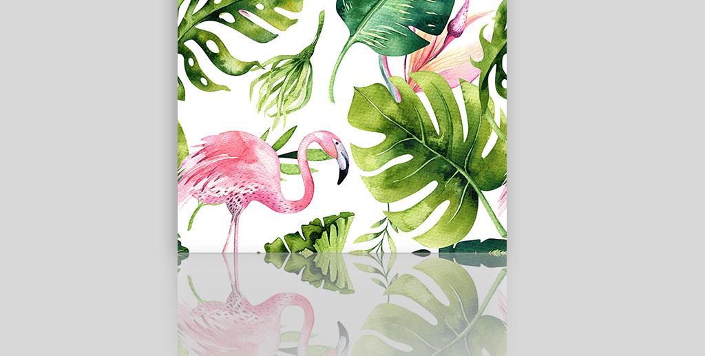 火烈鸟热带植物装饰画墙纸