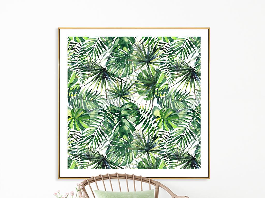 水彩热带植物装饰画无缝墙纸