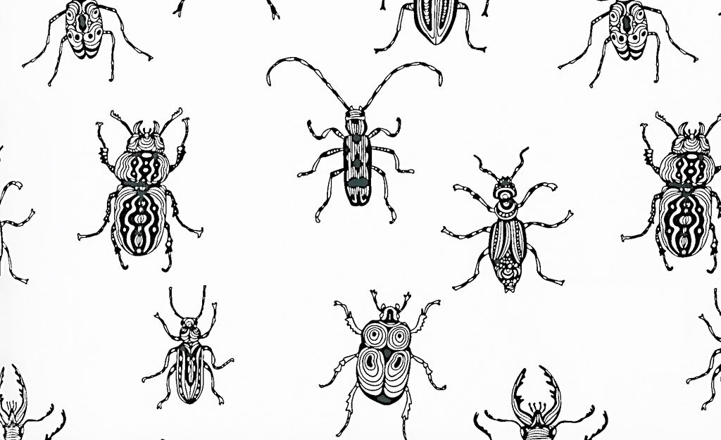 手绘工笔画昆虫背景图案