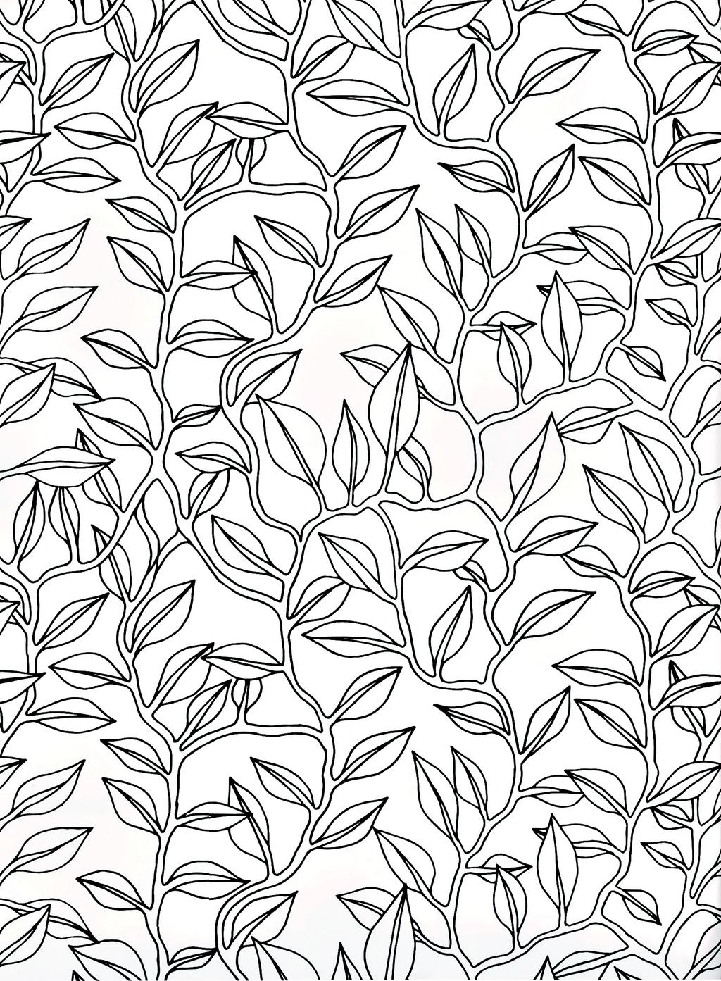 手绘工笔画树叶藤蔓背景图案