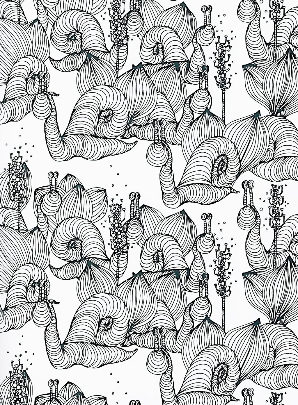 手绘工笔画蜗牛艺术图案