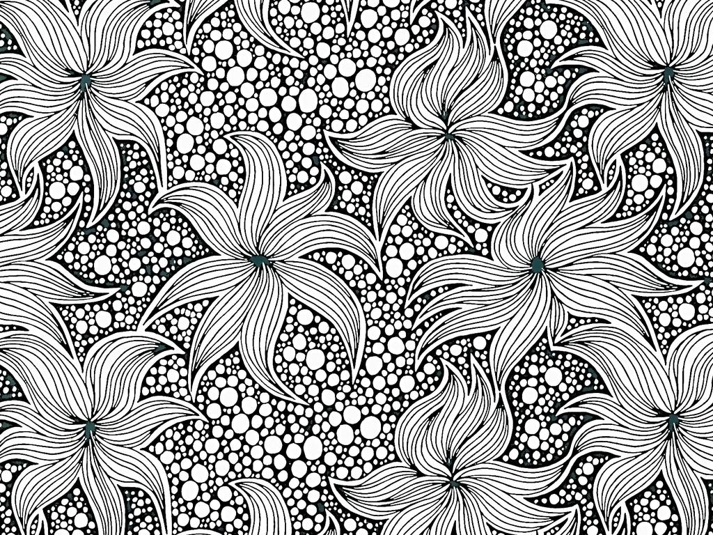 手绘线描黑白工笔画图片下载素材-植物花卉图案-我图网