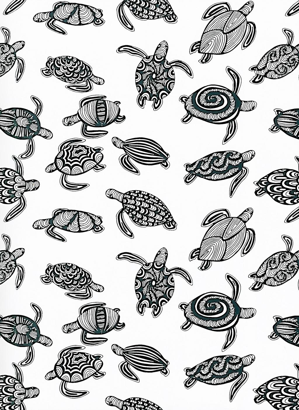 产品图案设计 家纺家饰图案 动物图案 > 手绘工笔画黑白线描稿背景