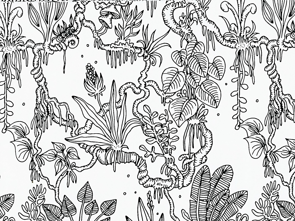 手绘工笔画黑白线描稿背景图片下载素材-植物花卉图案