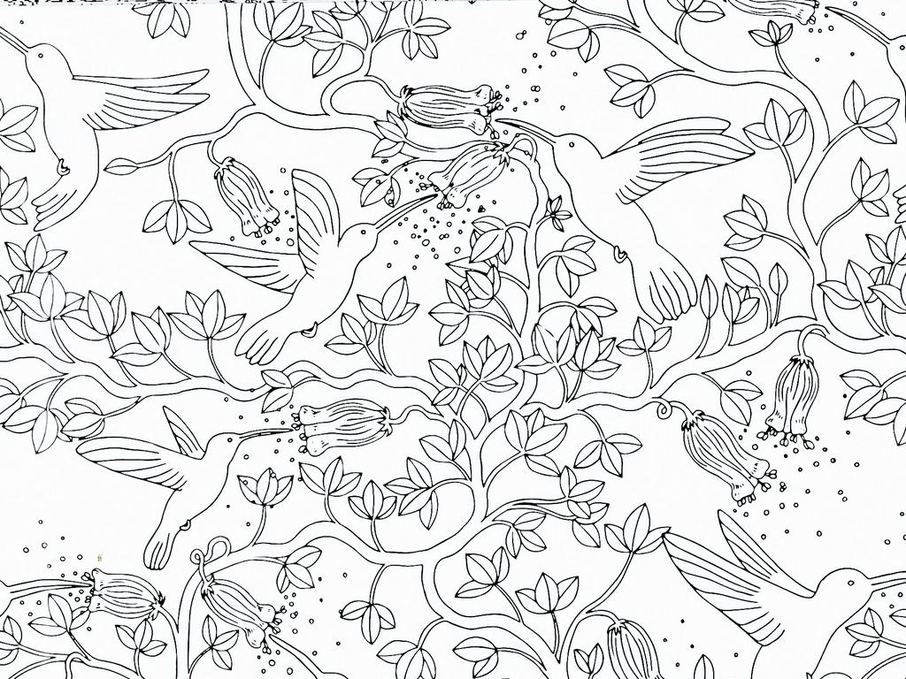 手绘工笔画黑白线描稿背景(图片编号:17380276)_植物